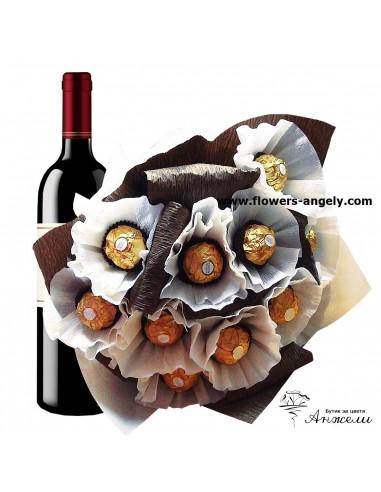Букет от бонбони и вино